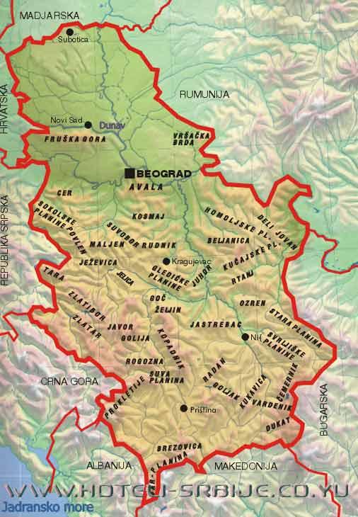 geografska karta srbije reljef Reljefne celine Srbije | ZAVRTI GLOBUS geografska karta srbije reljef